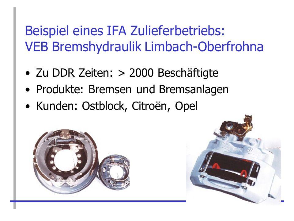 Beispiel eines IFA Zulieferbetriebs: VEB Bremshydraulik Limbach-Oberfrohna