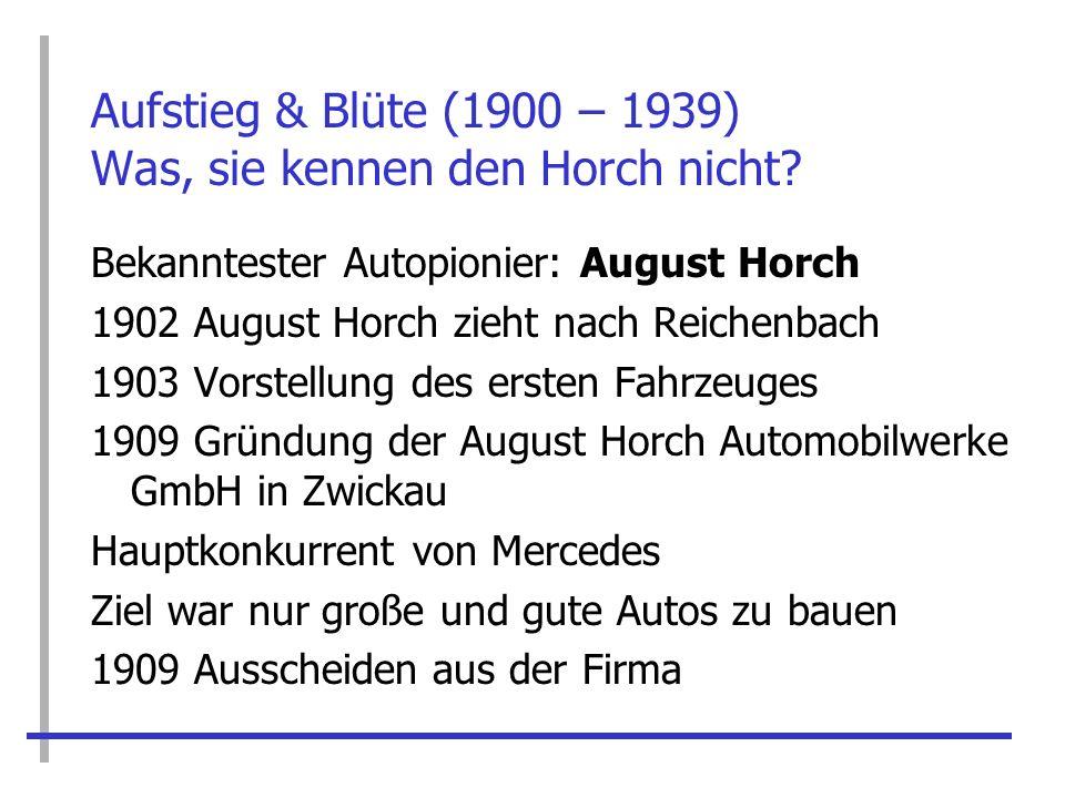 Aufstieg & Blüte (1900 – 1939) Was, sie kennen den Horch nicht