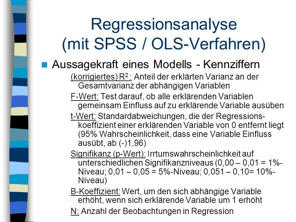 Regressionsanalyse (mit SPSS / OLS-Verfahren)
