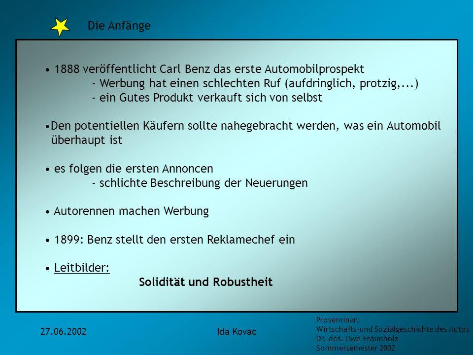 1888 veröffentlicht Carl Benz das erste Automobilprospekt
