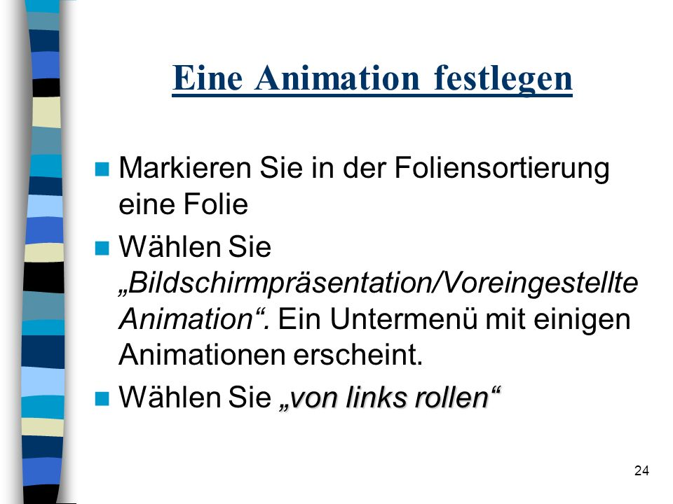 Eine Animation festlegen