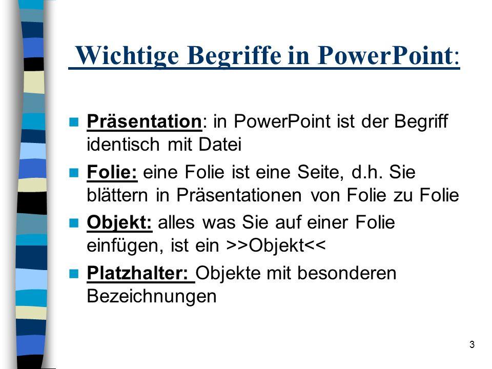 Wichtige Begriffe in PowerPoint: