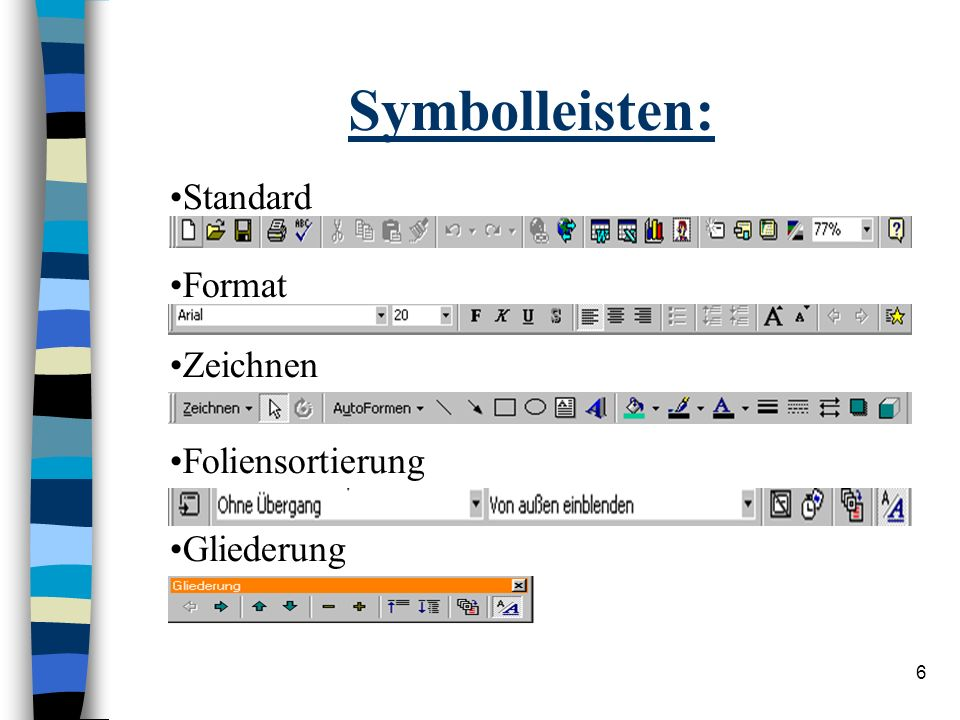 Symbolleisten: Standard Format Zeichnen Foliensortierung Gliederung