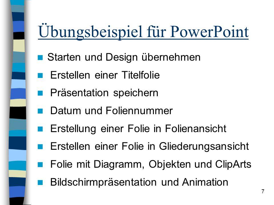 Übungsbeispiel für PowerPoint