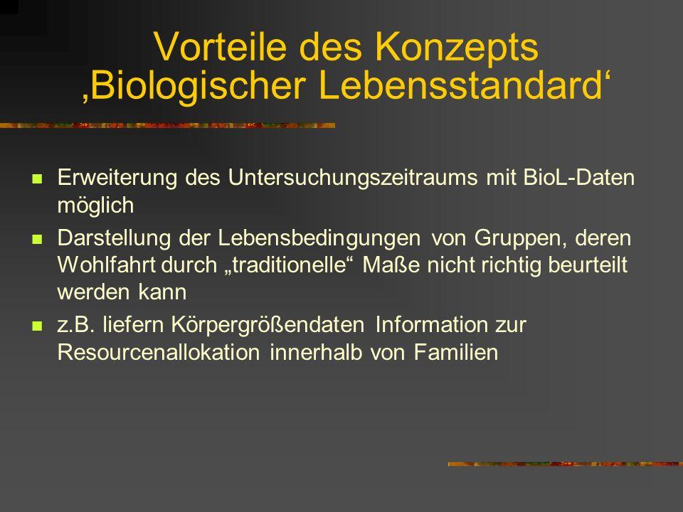Vorteile des Konzepts 'Biologischer Lebensstandard'