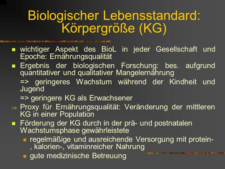Biologischer Lebensstandard: Körpergröße (KG)