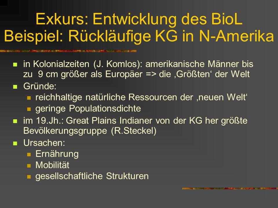 Exkurs: Entwicklung des BioL Beispiel: Rückläufige KG in N-Amerika
