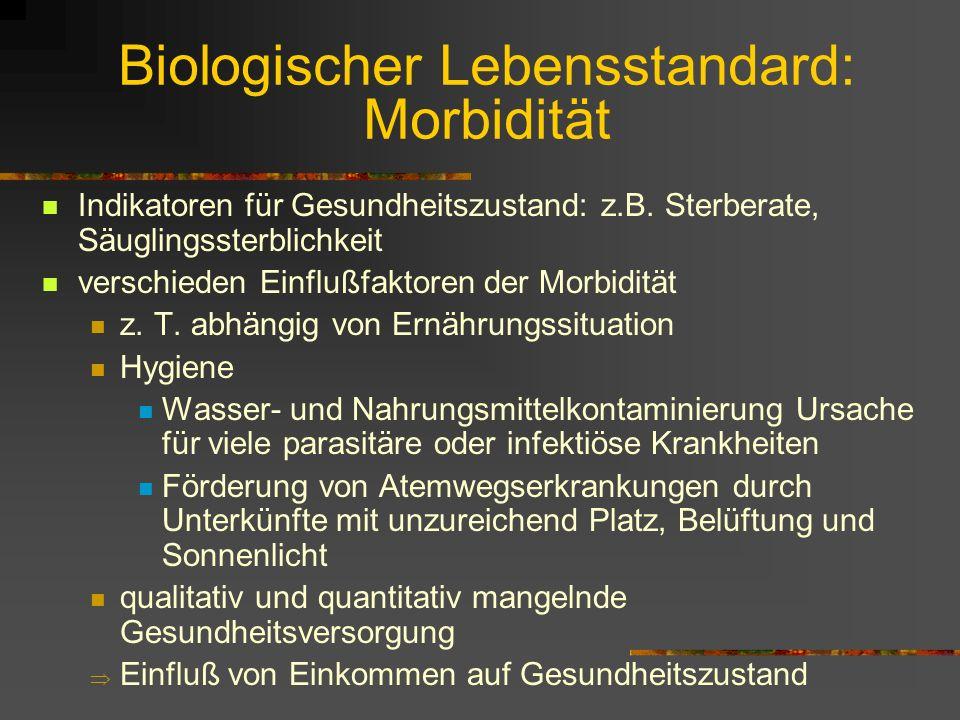 Biologischer Lebensstandard: Morbidität