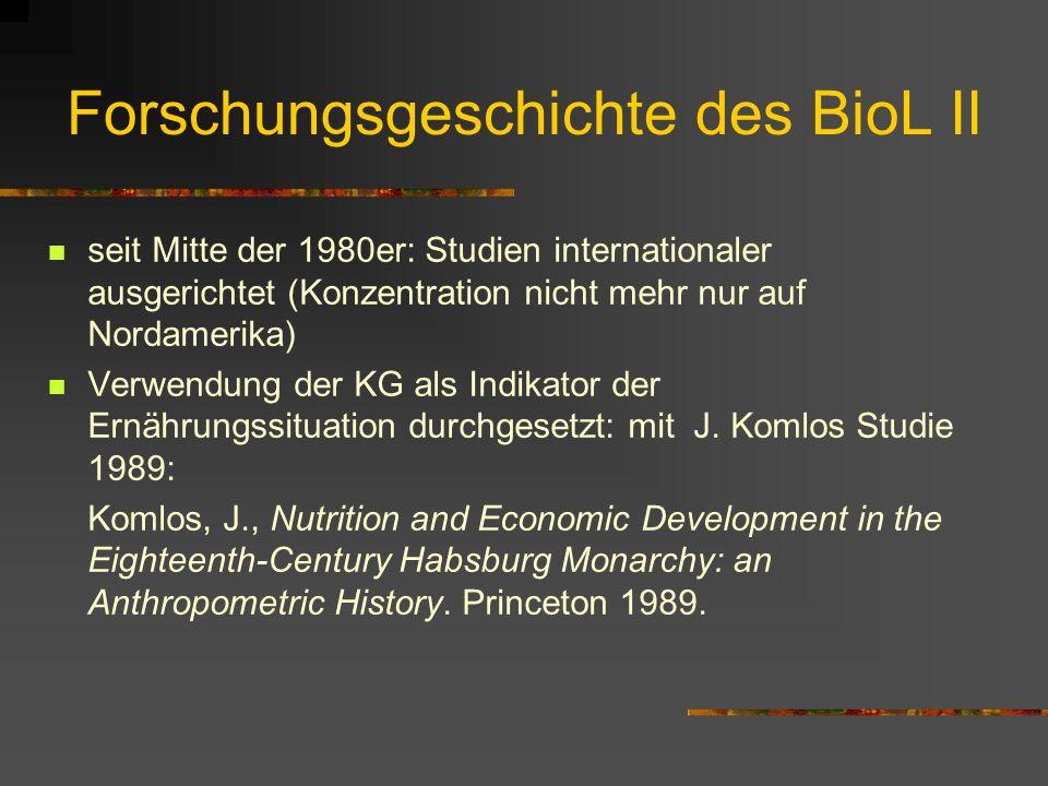 Forschungsgeschichte des BioL II