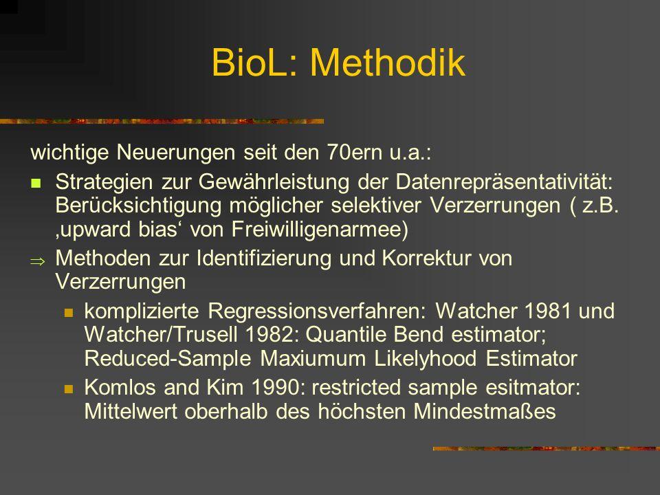 BioL: Methodik wichtige Neuerungen seit den 70ern u.a.: