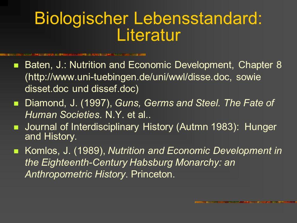 Biologischer Lebensstandard: Literatur
