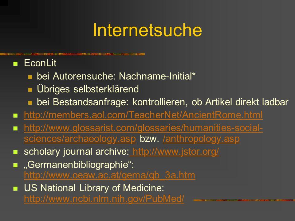 Internetsuche EconLit bei Autorensuche: Nachname-Initial*