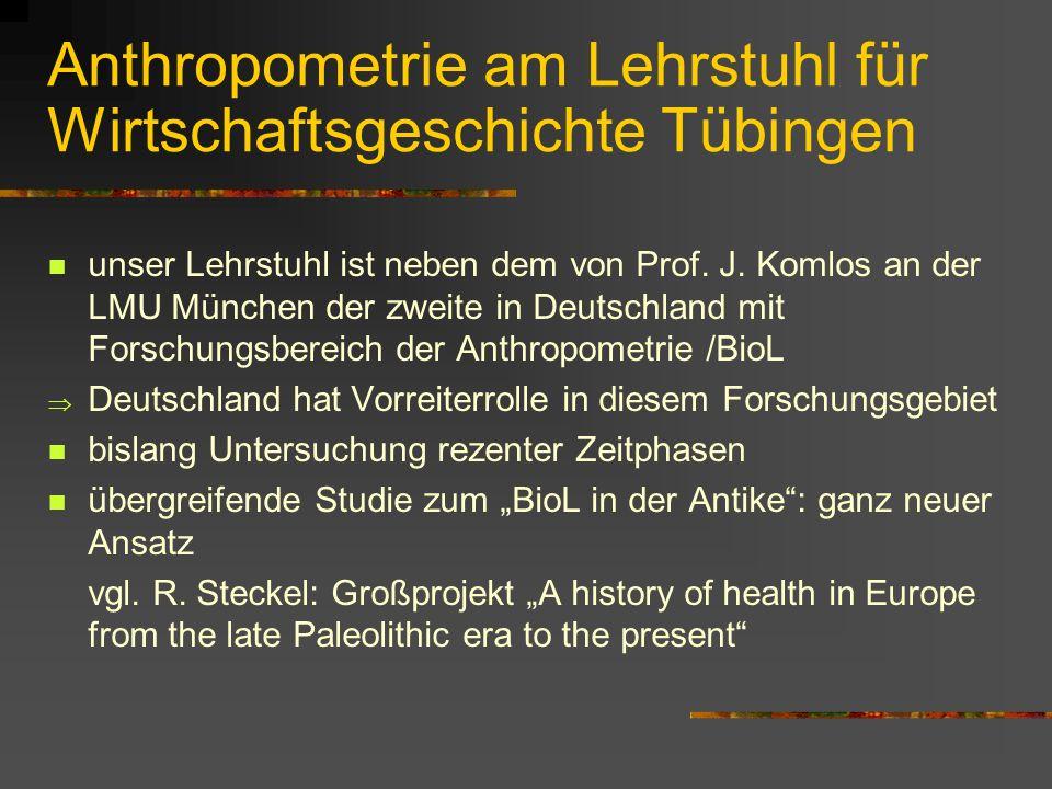Anthropometrie am Lehrstuhl für Wirtschaftsgeschichte Tübingen