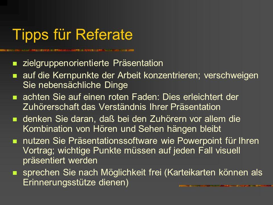 Tipps für Referate zielgruppenorientierte Präsentation