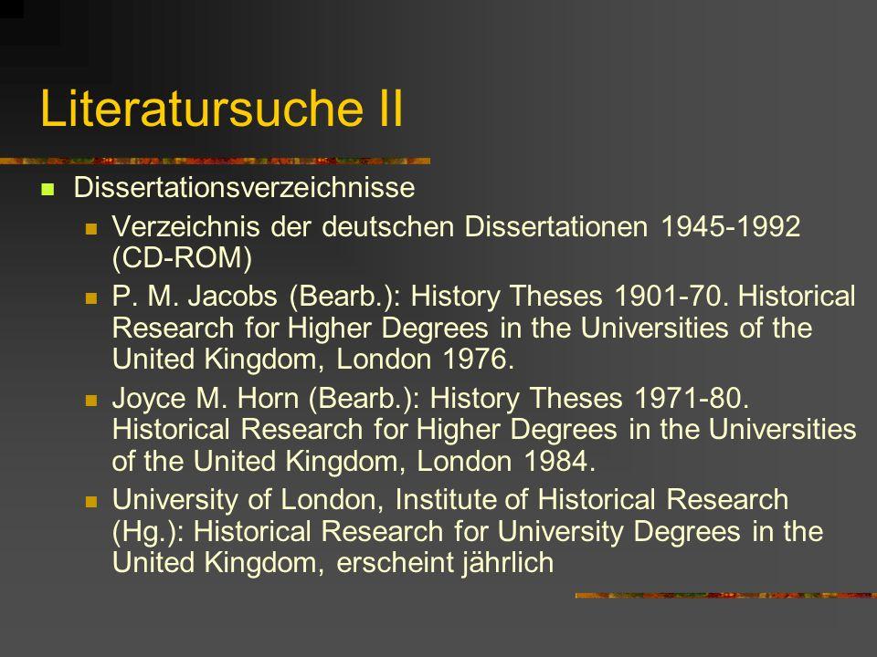 Literatursuche II Dissertationsverzeichnisse