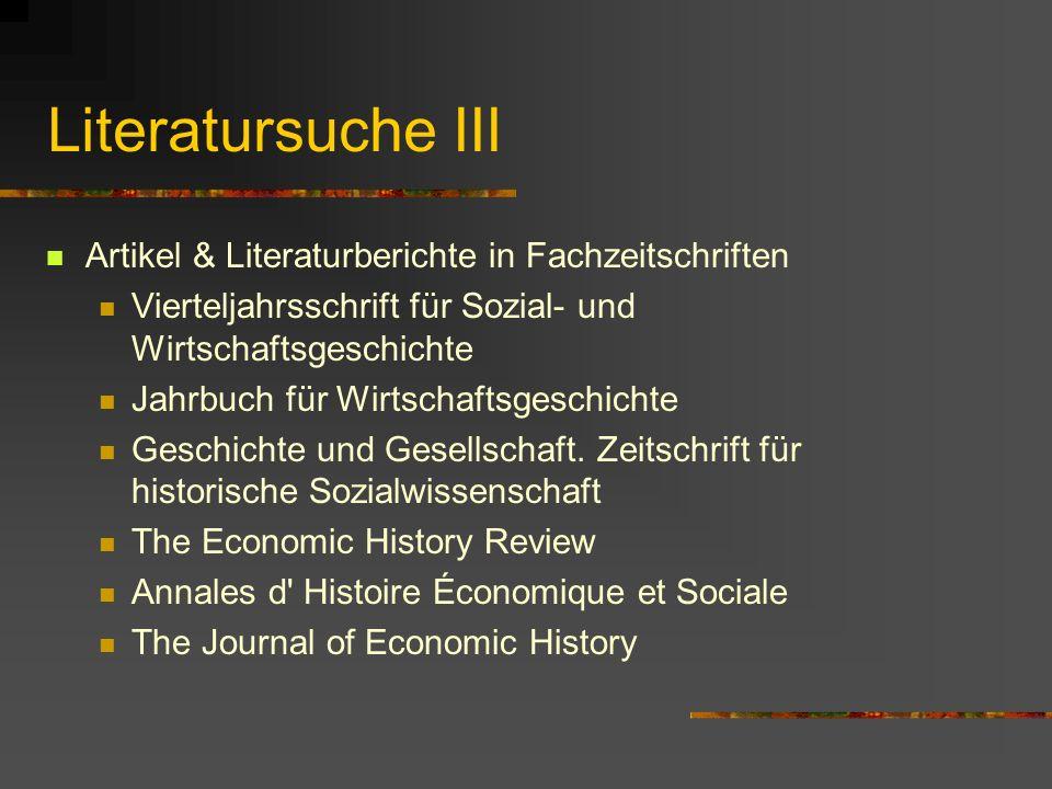 Literatursuche III Artikel & Literaturberichte in Fachzeitschriften