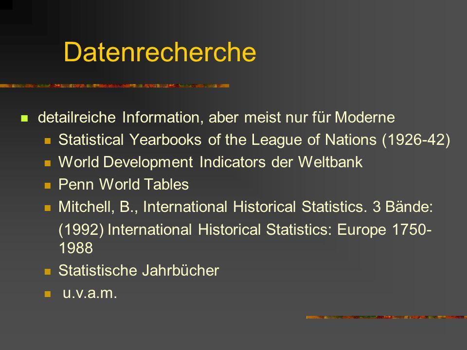 Datenrecherche detailreiche Information, aber meist nur für Moderne