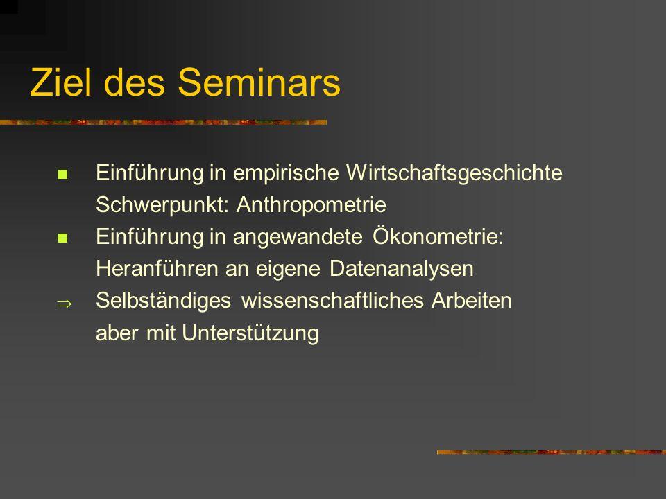 Ziel des Seminars Einführung in empirische Wirtschaftsgeschichte