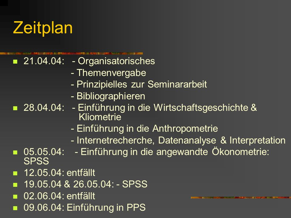 Zeitplan 21.04.04: - Organisatorisches - Themenvergabe