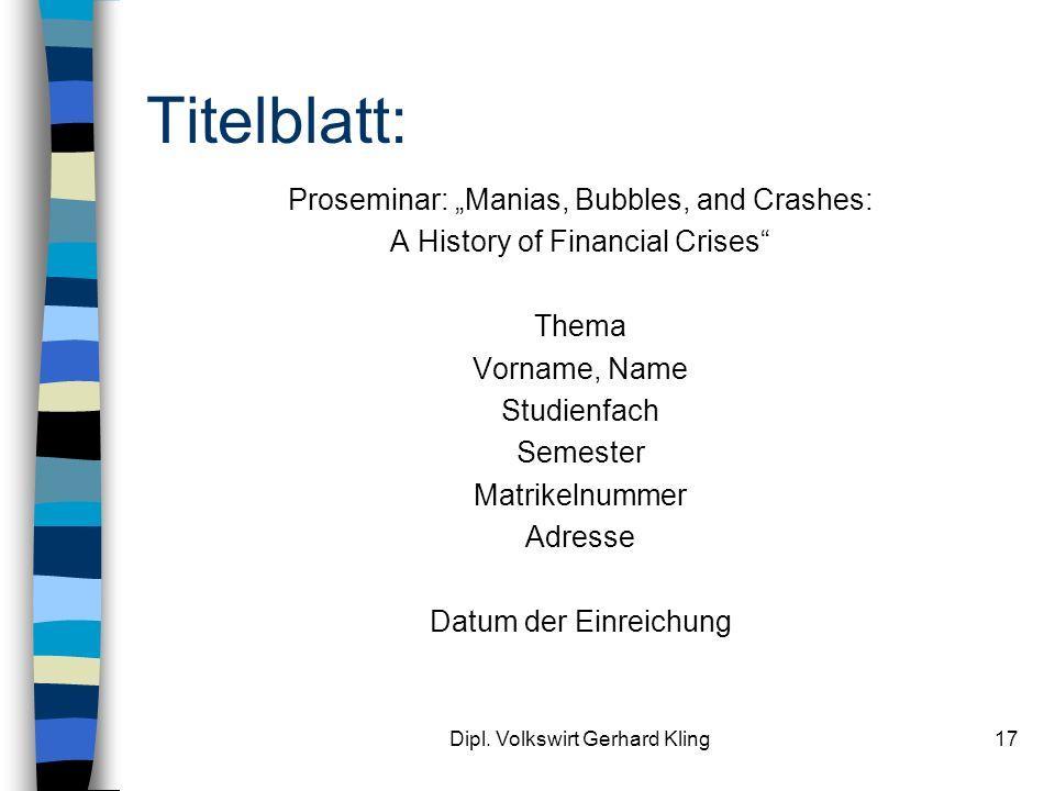 "Titelblatt: Proseminar: ""Manias, Bubbles, and Crashes:"