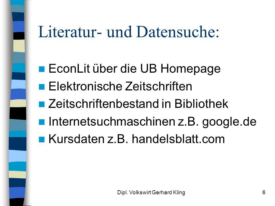 Literatur- und Datensuche: