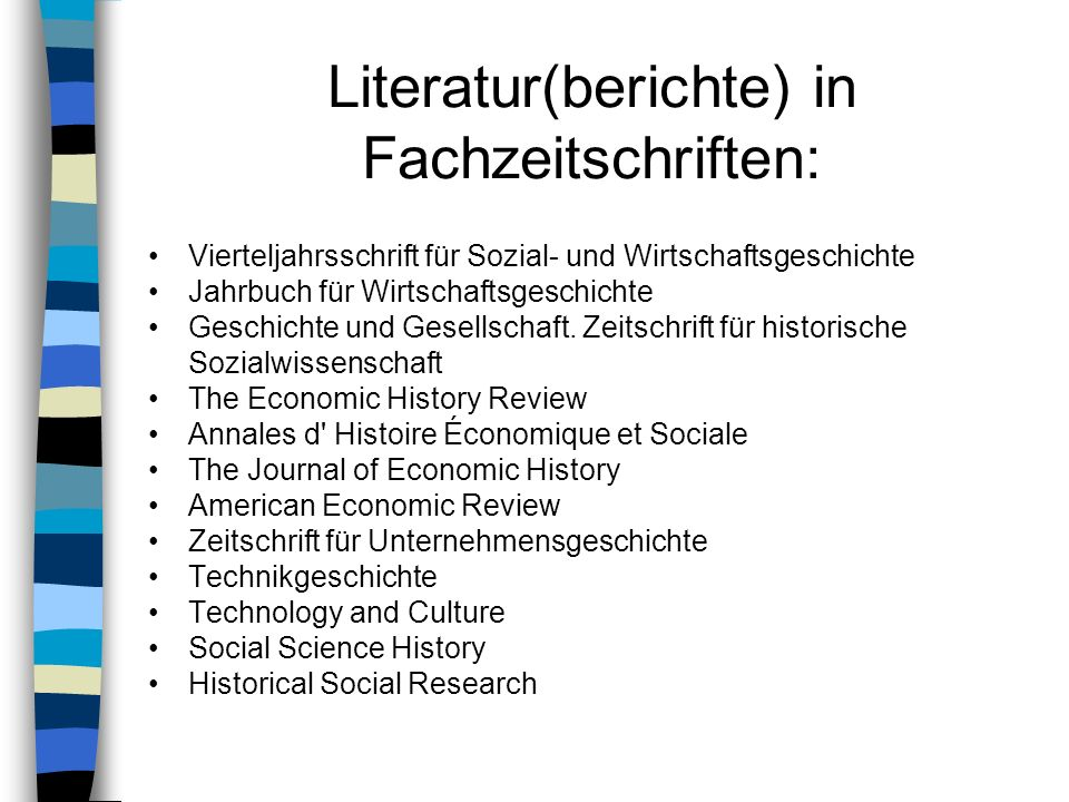 Literatur(berichte) in Fachzeitschriften: