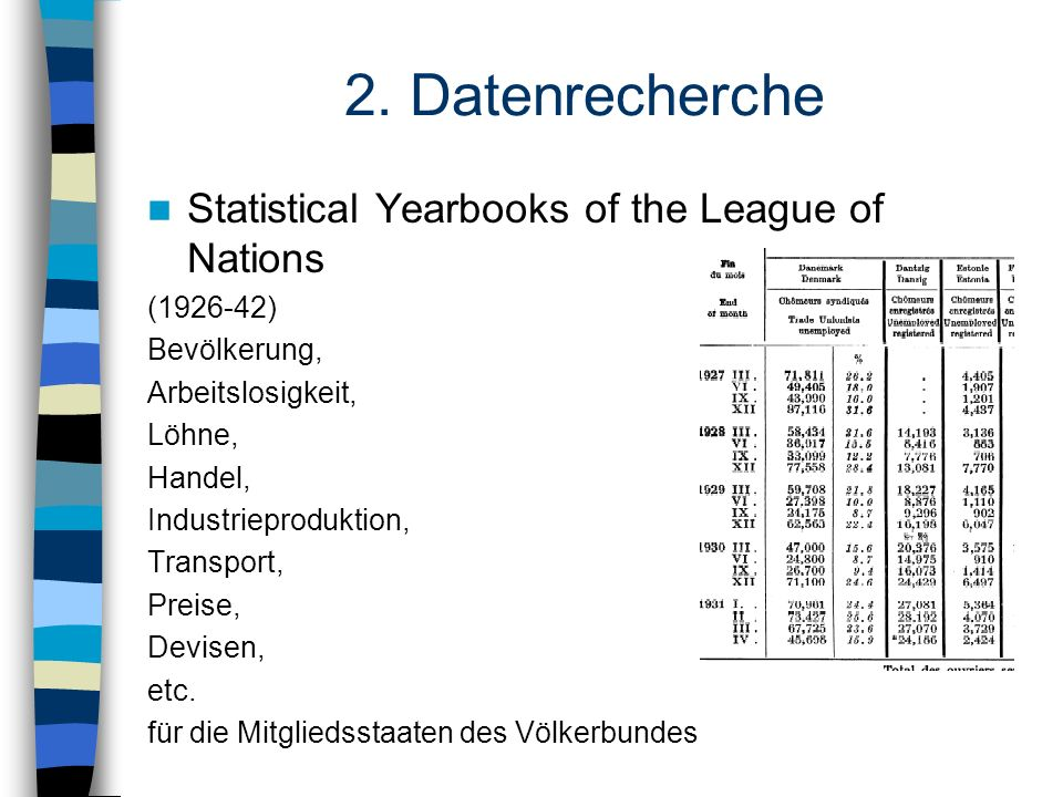 2. Datenrecherche Statistical Yearbooks of the League of Nations