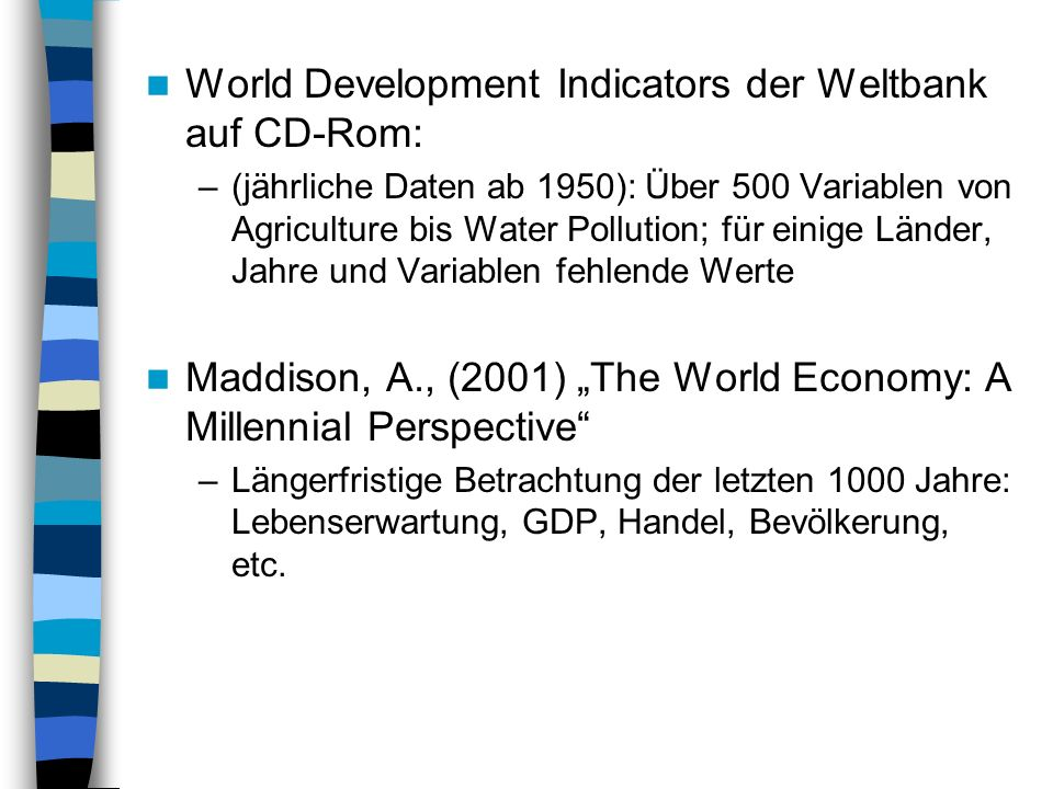 World Development Indicators der Weltbank auf CD-Rom: