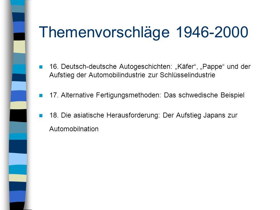 """Themenvorschläge 1946-2000 16. Deutsch-deutsche Autogeschichten: """"Käfer , """"Pappe und der Aufstieg der Automobilindustrie zur Schlüsselindustrie."""