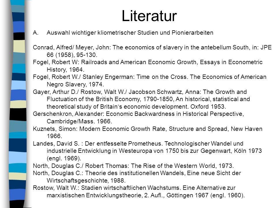 Literatur Auswahl wichtiger kliometrischer Studien und Pionierarbeiten