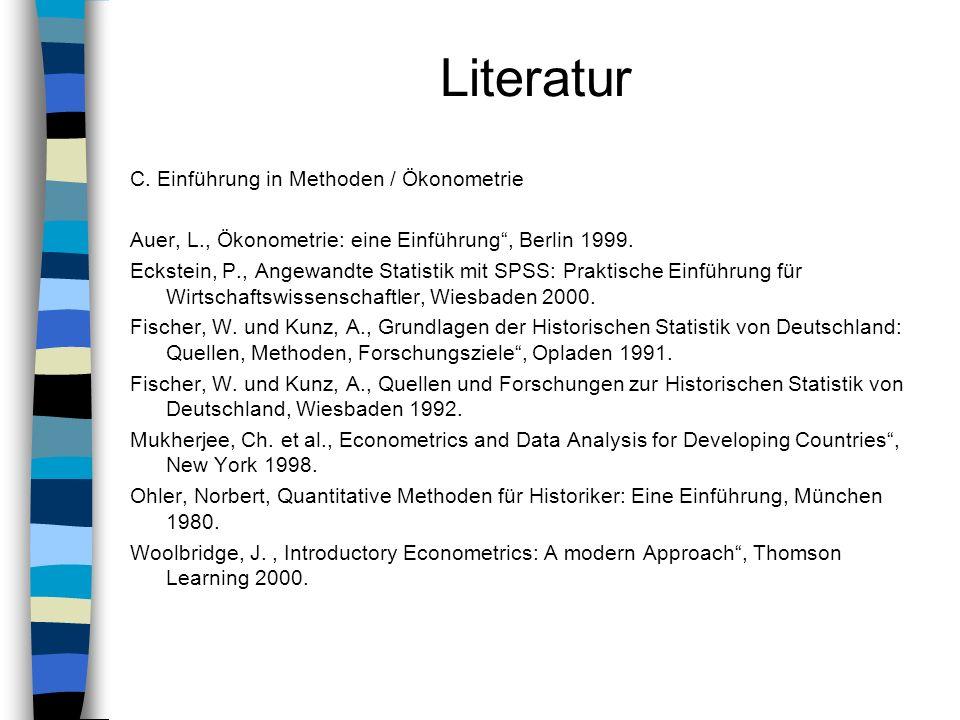 Literatur C. Einführung in Methoden / Ökonometrie