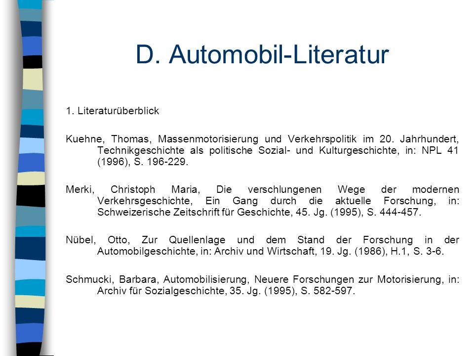 D. Automobil-Literatur