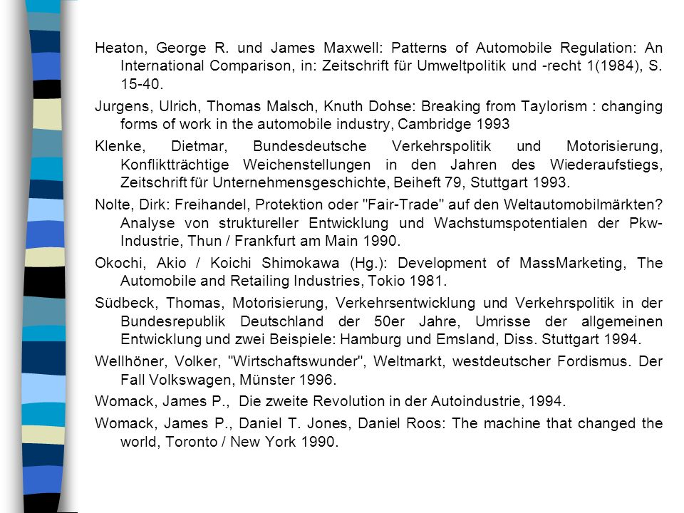 Heaton, George R. und James Maxwell: Patterns of Automobile Regulation: An International Comparison, in: Zeitschrift für Umweltpolitik und -recht 1(1984), S. 15-40.