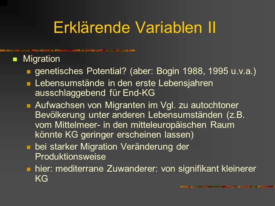 Erklärende Variablen II