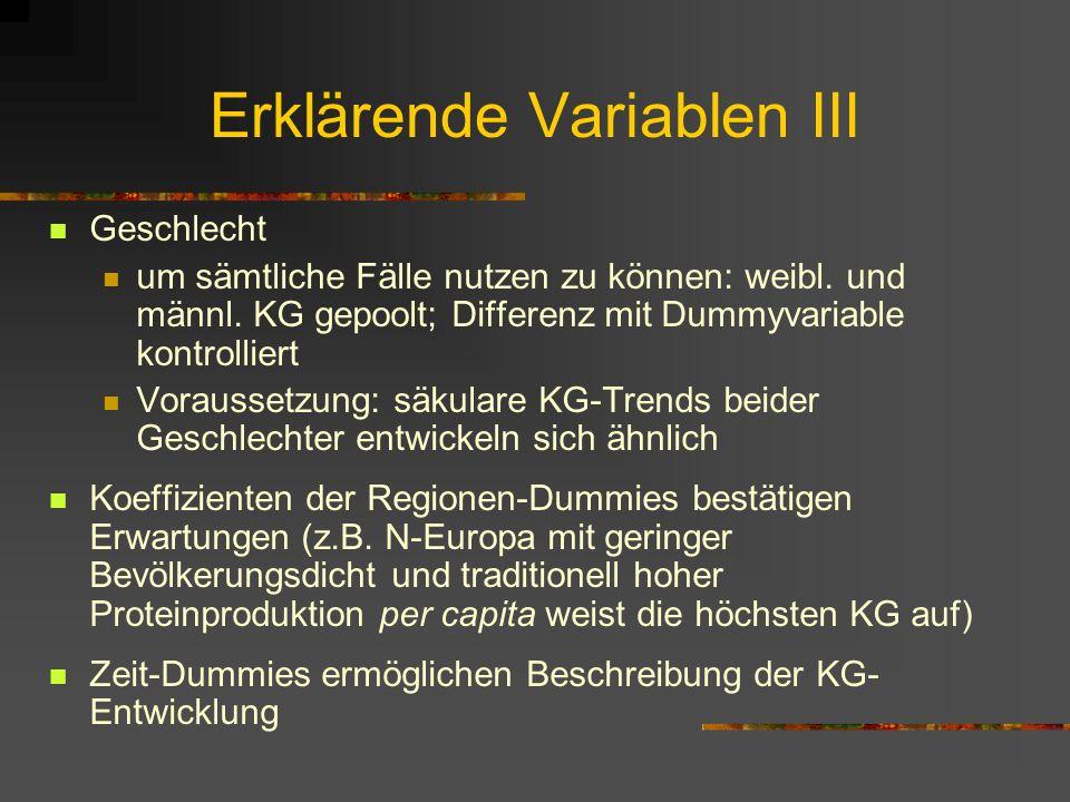Erklärende Variablen III