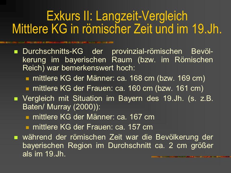 Exkurs II: Langzeit-Vergleich Mittlere KG in römischer Zeit und im 19