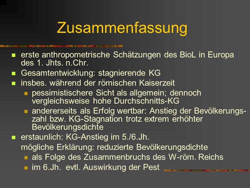 Zusammenfassung erste anthropometrische Schätzungen des BioL in Europa des 1. Jhts. n.Chr. Gesamtentwicklung: stagnierende KG.