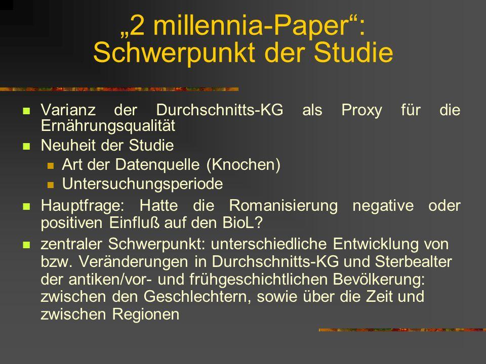 """""""2 millennia-Paper : Schwerpunkt der Studie"""