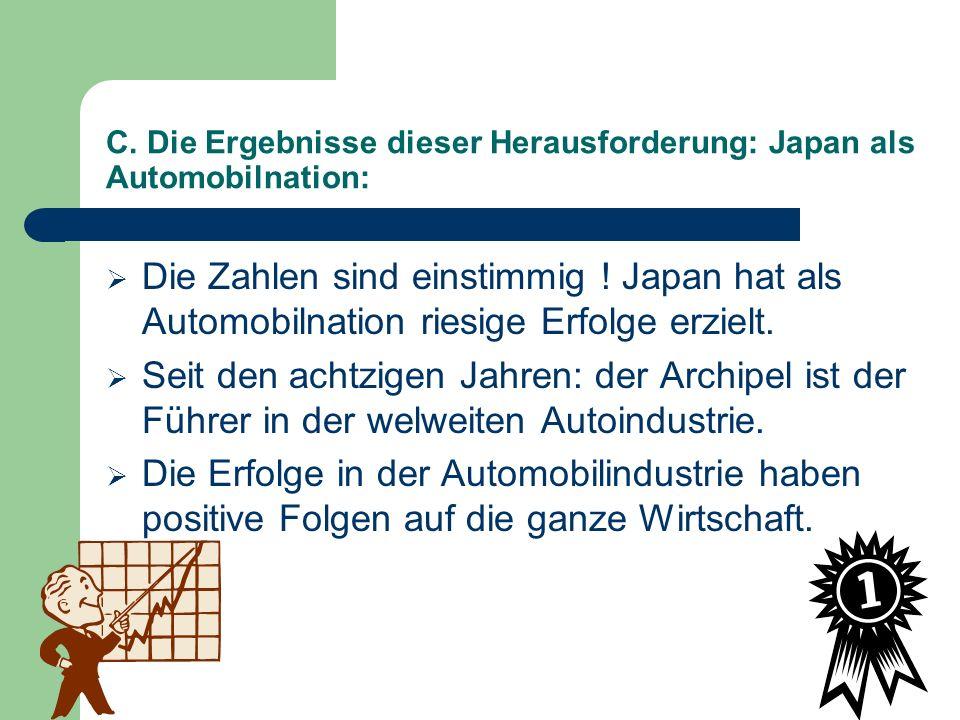 C. Die Ergebnisse dieser Herausforderung: Japan als Automobilnation: