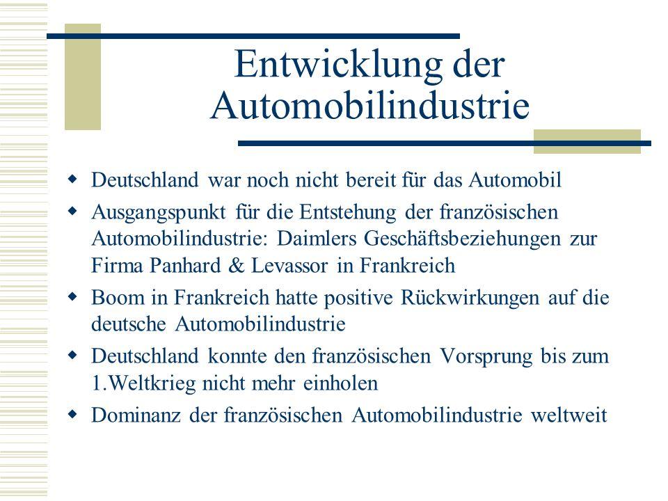 Entwicklung der Automobilindustrie