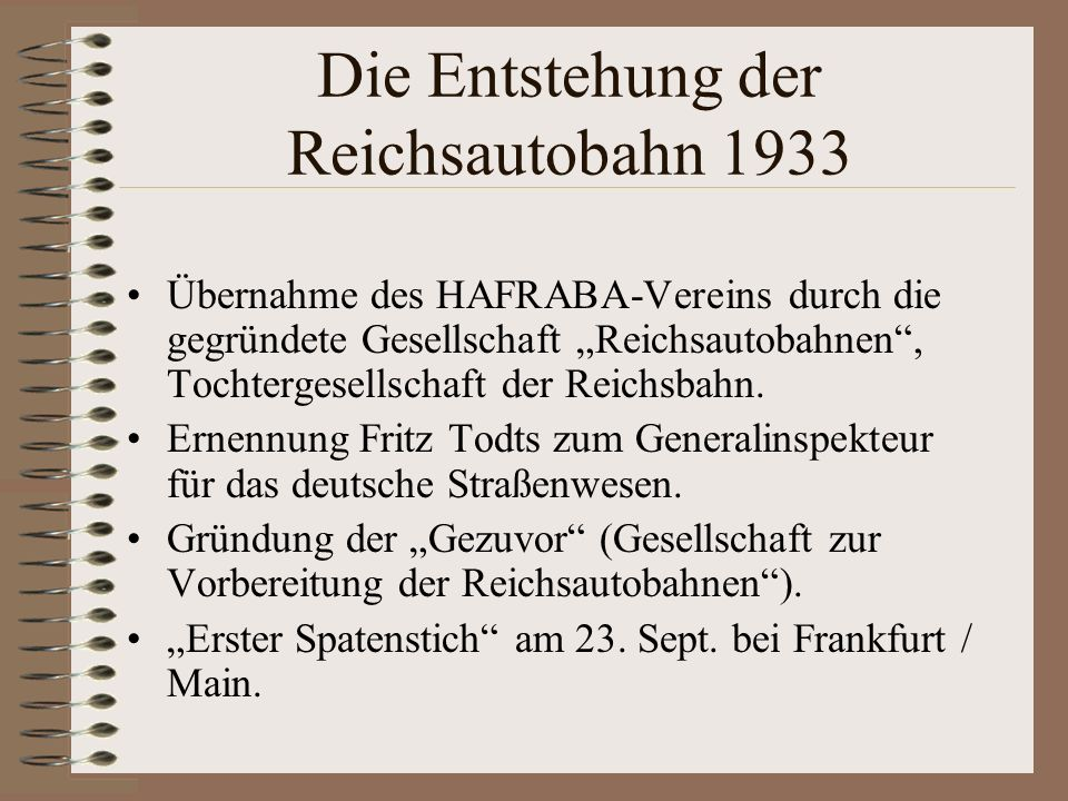 Die Entstehung der Reichsautobahn 1933
