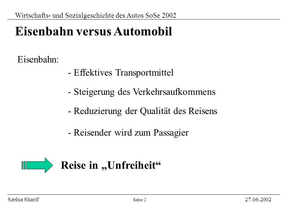 Eisenbahn versus Automobil