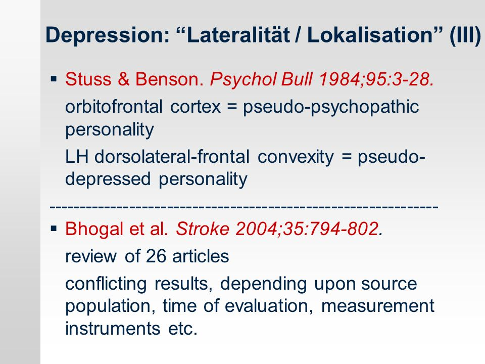 Depression: Lateralität / Lokalisation (III)