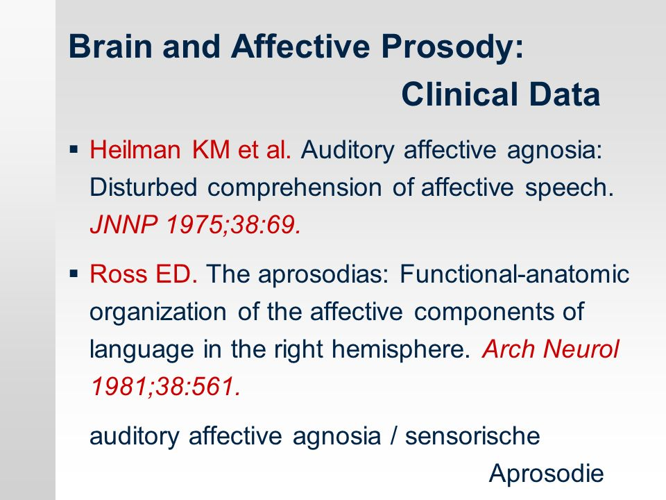 Brain and Affective Prosody: Clinical Data