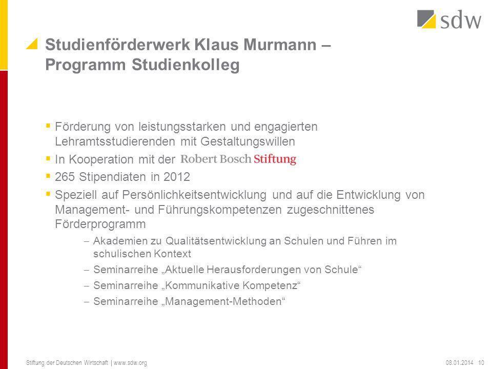 Studienförderwerk Klaus Murmann – Programm Studienkolleg