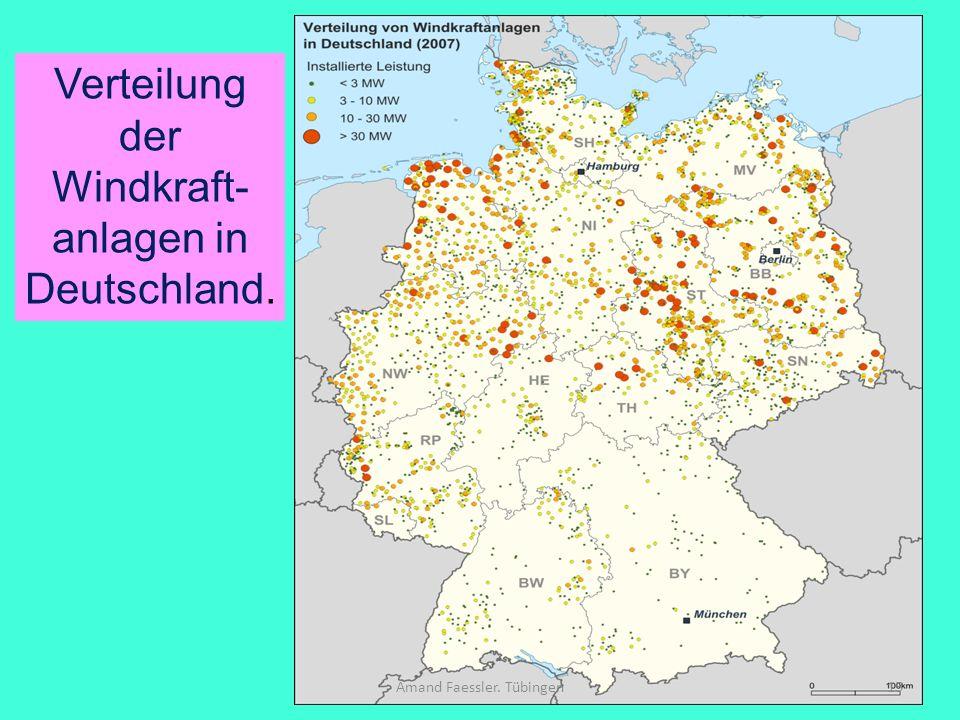 Verteilung der Windkraft-anlagen in Deutschland.