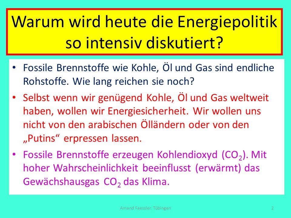 Warum wird heute die Energiepolitik so intensiv diskutiert