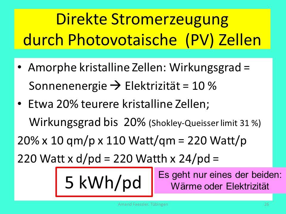 Direkte Stromerzeugung durch Photovotaische (PV) Zellen