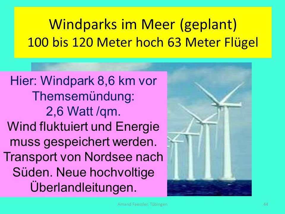 Windparks im Meer (geplant) 100 bis 120 Meter hoch 63 Meter Flügel