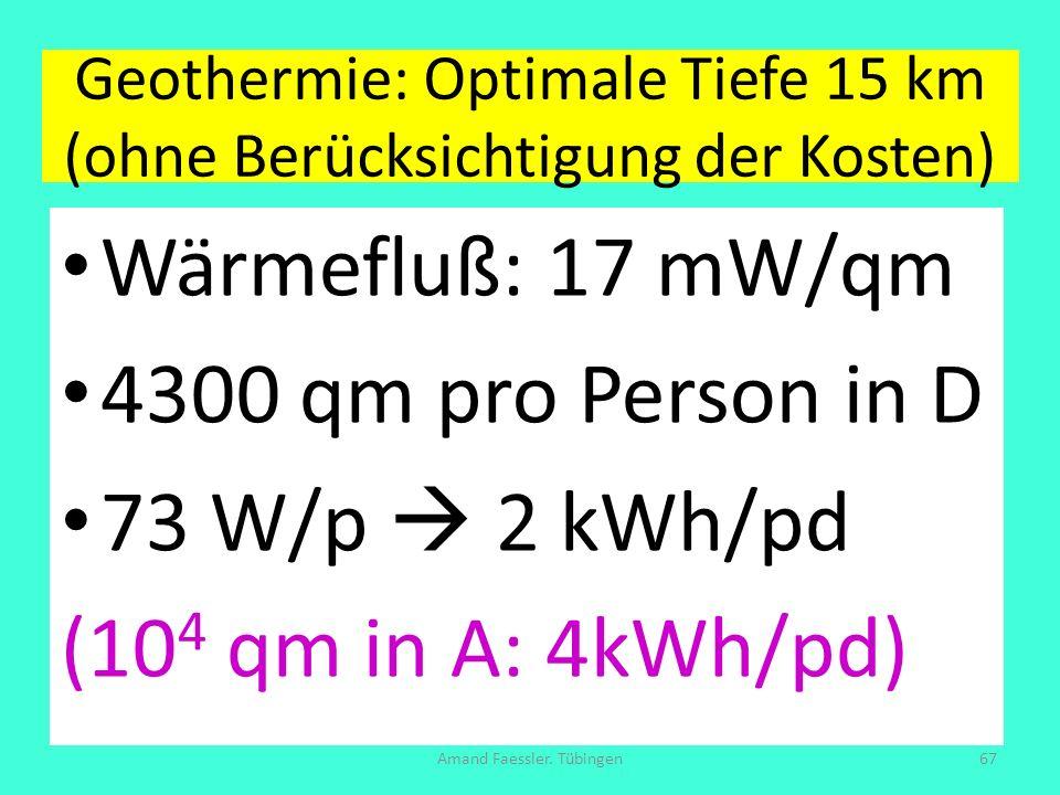 Geothermie: Optimale Tiefe 15 km (ohne Berücksichtigung der Kosten)
